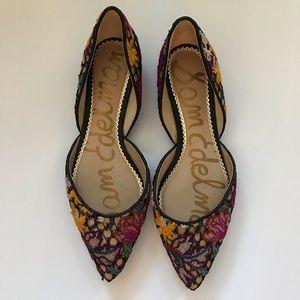 Sam Edelman Rodney dorsay embroidered floral flats